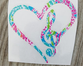 Lilly Inspired I Love Music Heart Vinyl Decal