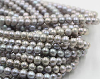 7 - 8 mm gray round freshwater pearls, gray round pearl,15'' full strand, round pearl strands, pearl wholesale