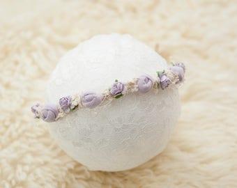 Lilac newborn headband tieback Baby headband tieback Newborn photography tieback lilac Photo prop Flower photo prop