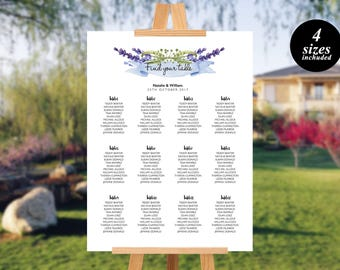 Floral Seating Chart Seating Chart Template Printable Seating Chart  Watercolor Floral Wedding Seating Chart Find your seat sign