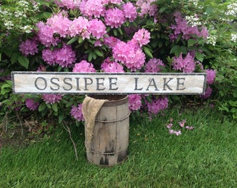 Ossipee Lake  wood sign with vintage appearance