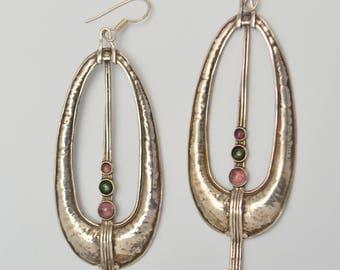 Large Vintage Sterling Silver Modernist Tourmaline Pierced Dangle OOAK Hoop Earrings