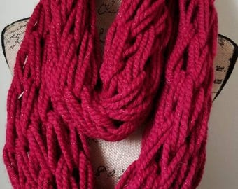 Red arm knit infinity scarf
