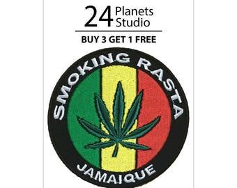 Smoking Rasta Jamaique Cannabis Iron on Patch by 24PlanetsStudio