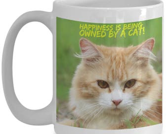 Happiness is Being Owned By A Cat! Beautiful Photo of a Sweet Orange and White Kitty Needing a Snuggle Adorns 15 oz White  Coffee Mug!