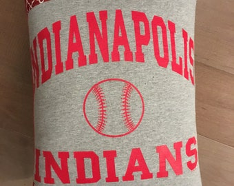 Indianapolis Indians Baseball Upcycled T-Shirt Pillow (12x16)
