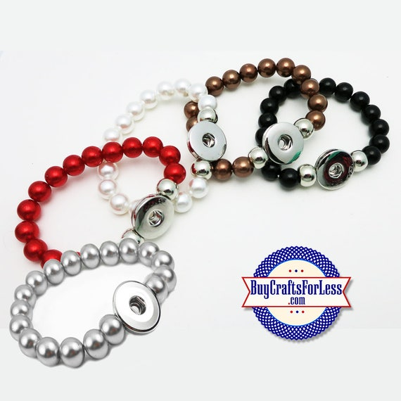 SNAP Button BRACELET, for 18mm Interchangable Snap Buttons, Stretchy-5 COLORs +FREE Shipping & Discounts