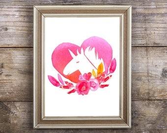 Unicorn Printable 8 x 10 Digital Watercolor Unicorn Floral Heart Print