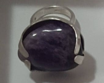 Amethyst half round silver ring
