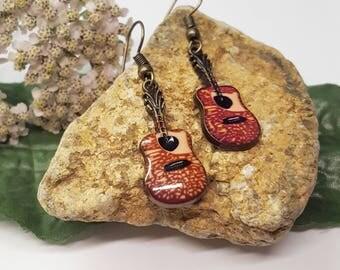 Guitar Charm Earrings/Guitar Earrings/Acoustic Guitar Earrings/Musician Gift/Guitar Charms/Guitarist Jewelry/Musician Earrings/Guitarist Gif