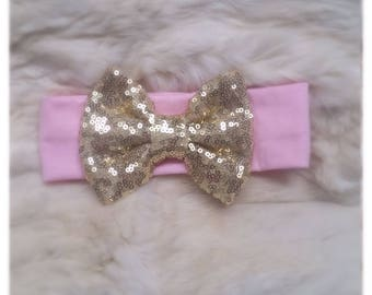 Sequin headband, Sequin bow, bow headwrap, gold sequin bow, pink headband, pink and gold birthday, sequin bow headwrap, first birthday, baby