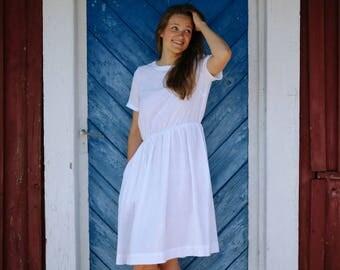 White Linen Dress, Minimalist Linen Dress, Short Sleeved Dress, Handmade by INGRID
