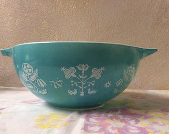 Pyrex needlepoint embroidery promo aqua bowl