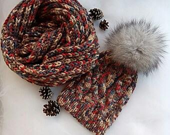Knit hat, Winter hat, Pom pom hat, Womens knit hat, Winter beanie