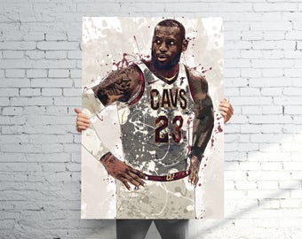 Lebron James Cleveland Cavaliers (v4)  - Sports Art Print Poster - Watercolor Abstract Paint Splash - Kids Decor - Gifts for Men - Man Cave
