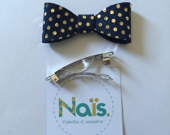 Hair clip Navy blue leather bow with gold dots