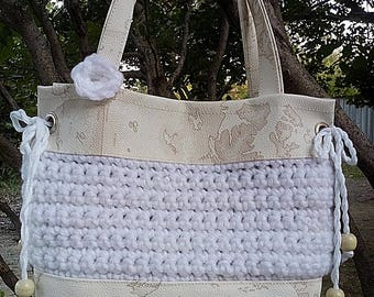 Shoulder Bag // Handmade // Eco Leather and Yarn // Tote Bag // Shoulder Bag // Woman Bag