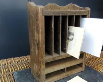 French mail organizer, small wooden mail sorter, postcard display