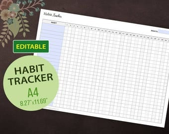 Editable Habit Tracker, Goal Tracker, Habit Planner, Daily Habits, Goal Digger, Instant Download, A4