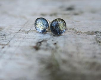 Silver dichroic glass earrings