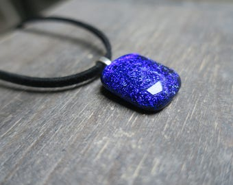 Blue Dichroic Glass Necklace