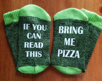 If You Can Read This Bring Me Pizza Socks, Thermal, Bottoms Up Socks, Gift for Her, Pizza Lover