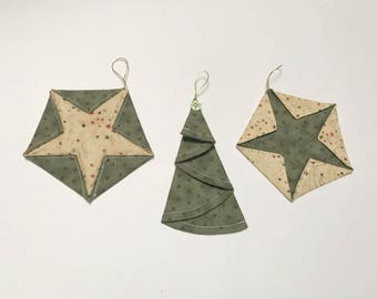 Star Tree Unique super cute Multi-Coloured Origami Folded Fabric Christmas Tree Ornament - unbreakable - PRICE for SET of 3 ORNAMENTS