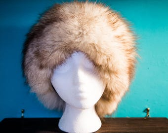 Womens arctic fox fur vintage hat