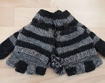 Hand Knitted Wool  Nepal Fingerless Glove / Mitten ( Grey / charcoal black  )