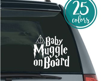 Muggle on Board - Baby on Board - Muggle on Board Decal - Baby on Board Sticker - Harry Potty Baby Gift - New Baby Gift - Harry Potter Baby