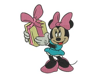 Minnie and the Gift Embroidery Design - 4 sizes and 6 formats