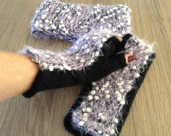 Handknitted fingerless gloves and headband, mittens, wrist warmers, winter accessories, ready to ship