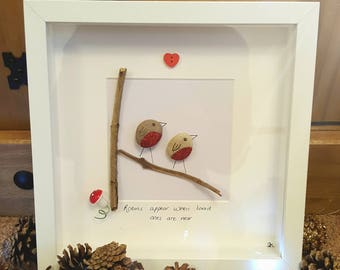 Pebble art TWO ROBINS box frame picture