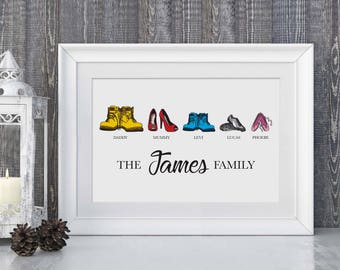 Framed - Personalised Custom Family Shoes Print - Family Gift. Wellies,Work boots, high heels, family gift, high heels, baby booties, family