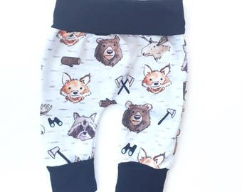 Miniloones | Grow With Me Pants | Baby Leggings | Baby Boy Pants | Baby Leggings | Woodland Animal Pants