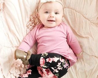 Miniloones | Grow With Me Pants | Baby Leggings | Baby Girl Pants | Floral Baby Leggings |