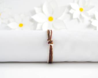 Brown Simple Bracelet | Knotted Hemp Bracelet | Stackable Bracelet | Handmade Jewelry | Adjustable Bracelet | Birthday Gift | Gifts for Her