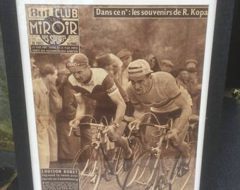 Framed Vintage Cycling Magazine Front Cover  from a 1950's French Publication , Collectable Cycling Memorabilia.