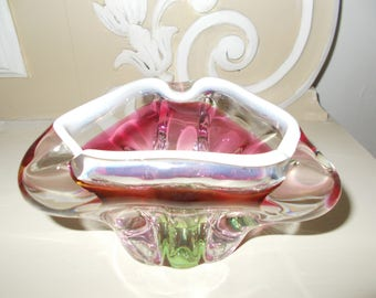 Vintage Bohemian  Chribska Art Glass Bowl