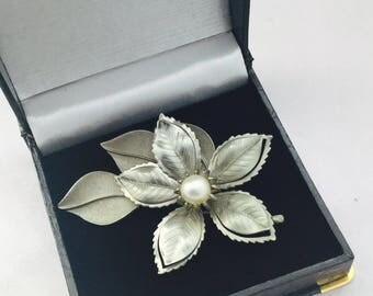 1960's Silver and Pearl Flower