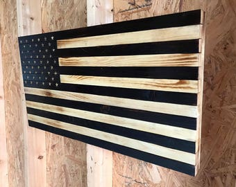 Wooden American Flag-Rustic Style, Subdued, Hand Carved Stars, Distressed
