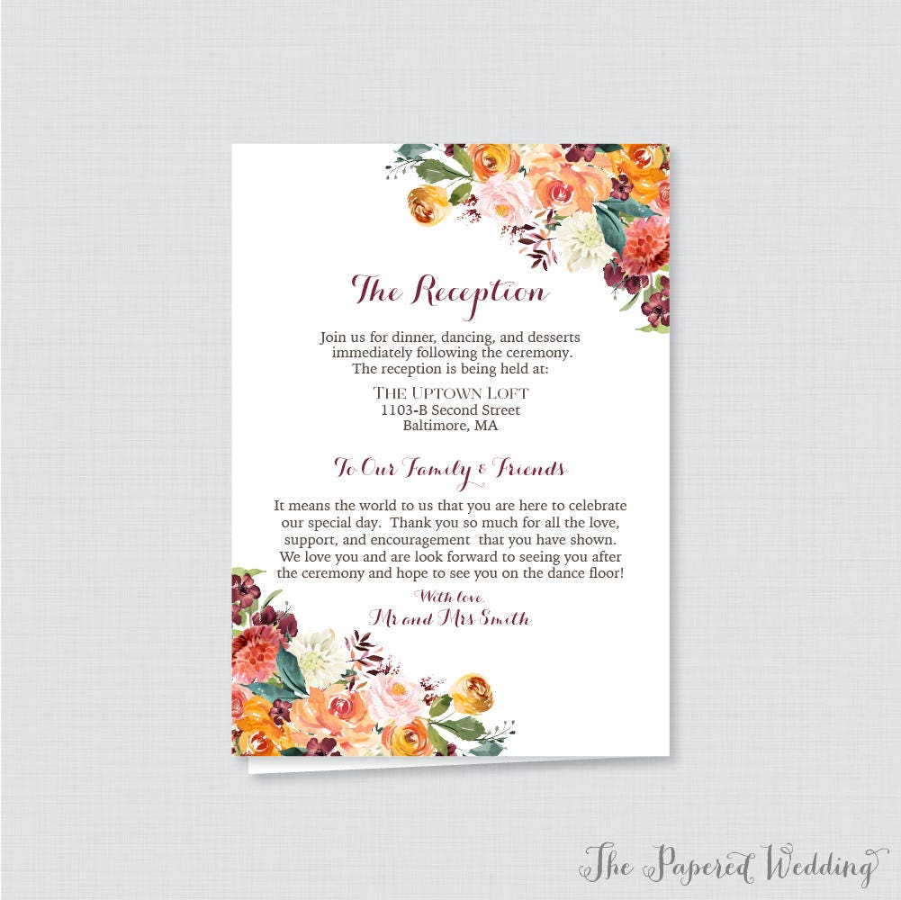 Printable OR Printed Wedding Program Booklet Fall Floral Il Fullxfull Or