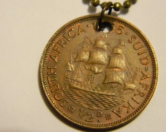 1955 South Africa Half Penny Coin Pendant & Chain Necklace Dromedaris Sailing Ship Jewelry Chocolate Patina #72