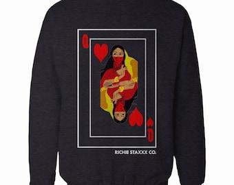 Queen of Hearts Crewneck Sweatshirt queen Crewneck Sweatshirt