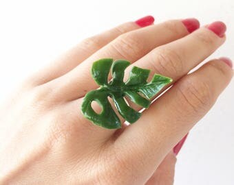 Monstera ring, nature inspired ring, botanical ring nature rings tropical wedding ring monstera leaf ring tropical leaf ring adjustable ring