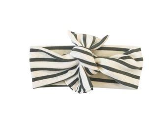 Headwrap /// Charcoal Stripe