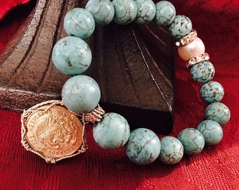Cinco Centavos turquoise and Pearl Bracelet