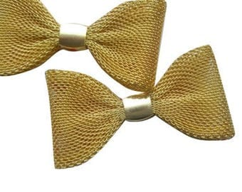 5 pendants bow metal - mesh gold tone
