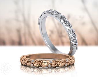 Leaves Ring 14K White Ring,Rose Ring,wedding ring,wedding band,leaf ring,antique,vintage,floral ring.