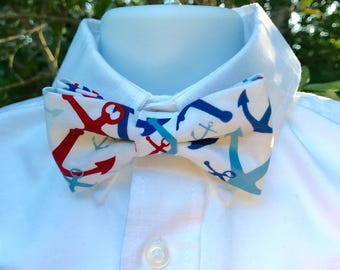 Little Boys Anchor Print Bow Tie; Red, White & Blue Nautical Bow Tie; Toddlers Bow Tie; Youth Bow Tie; Anchor Bow Tie; Adjustable Bowtie